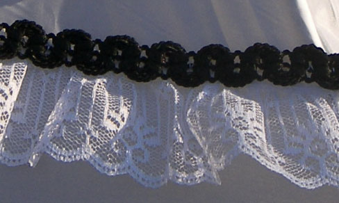 KC Dragonfly - Black and White Mae West wedding parasol - lace detail