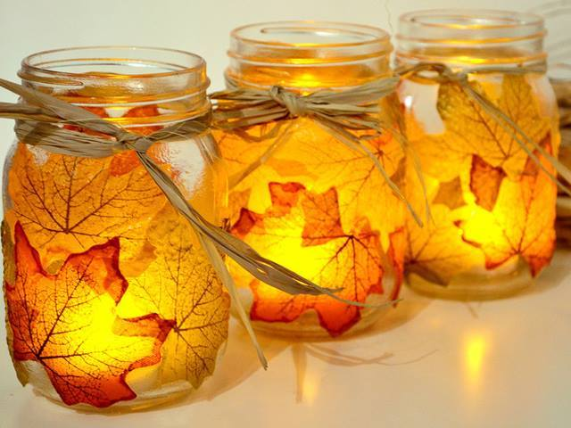 autumn leaf candle holder mason jar