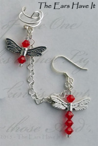 Dragonfly Pair earcuff by KC Dragonfly