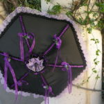 KC Dragonfly - Black and Purple parasol - open