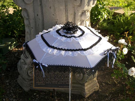 KC Dragonfly - Black and White Mae West wedding parasol 2