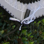 KC Dragonfly - Black and White Mae West wedding parasol v2 - lace detail - ribbon - detail