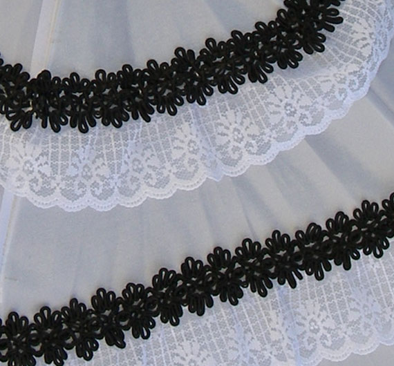 KC Dragonfly - Black and White Mae West wedding parasol v2 - lace detail