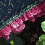 KC Dragonfly - Burgundy Boudier parasol -lace detail