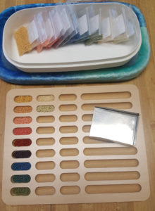 wooden bead sorting tray at KC Dragonfly