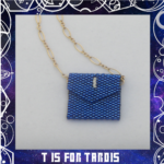11th Doctor Tardis Blue Envelope Peyote Stitch Beaded Necklace 1 closeup