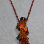 Autumn Leaves Beaded Bottle closeup by KC Dragonfly