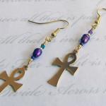 Ankh Fresh Water Pearl Earrings by KCDragonfly