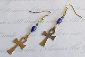 Ankh Fresh Water Pearl Earrings