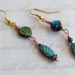 Asymmetrical Midnight Spiral earrings by KCDragonfly 300x204