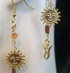 Carnelian Healing Sun Goddess feather duster earrings by KCDragonfly 144×300