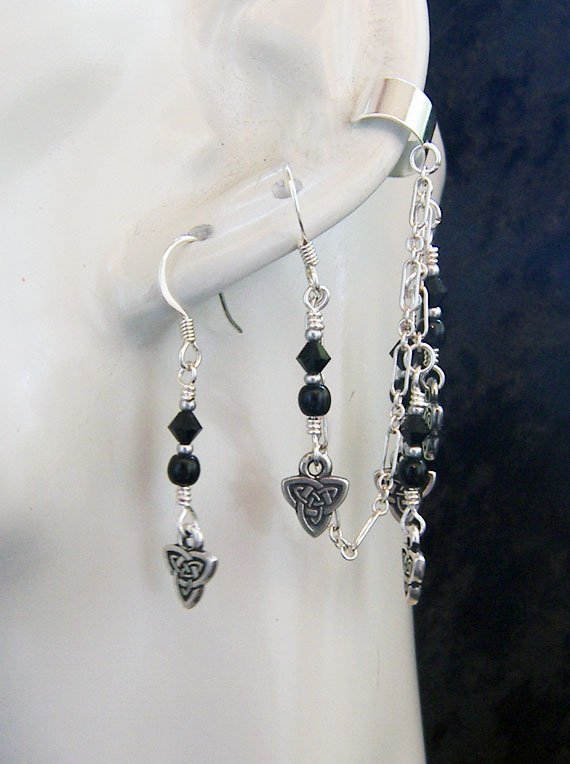 Celtic Darkness ear cuff and earring set by KCDragonfly