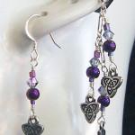 Celtic Purple Triad Single ear cuff and earring set by KCDragonfly