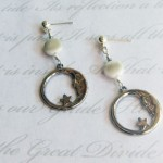 Crescent Moon with Simulated Moonstone ear cuff and earring set by KCDragonfly 300×267