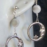 Crescent Moon with Simulated Moonstone ear cuff and earring set by KCDragonfly 173×300
