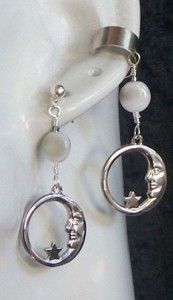 Crescent-Moon-with-Simulated-Moonstone-Earcuff-and-Earring-Set-173x300