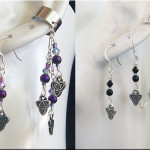 Celtic Purple Triangle ear cuff (left) customized with black beads (right) by KC Dragonfly