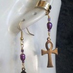 Ankh Fresh Water Pearl Single ear cuff and earring set by KCDragonfly 2 150x300