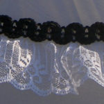 KC Dragonfly – Black and White Mae West wedding parasol – lace detail