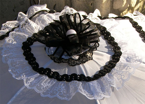 KC Dragonfly - Wedding Mae West Parasol - black and white - top detail
