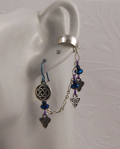 Celtic Purple Earcuff and Matching Earring in Sterling Silver & Niobium