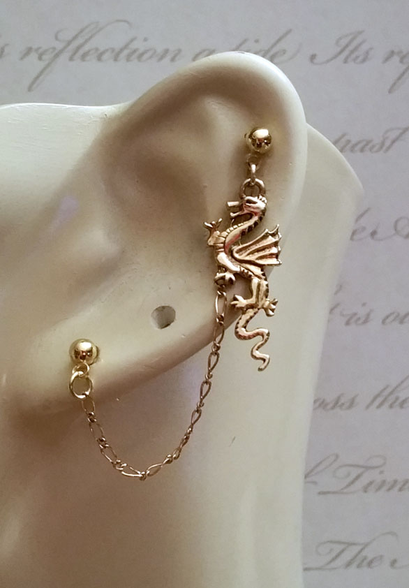 Gold Dragon Double Piercing by KCDragonfly