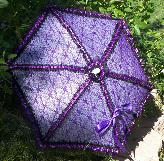 KC Dragonfly - Black and Purple Spider Web parasol - full angled