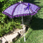 KC Dragonfly – Black and Purple Spider Web parasol – full standing up