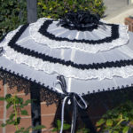 KC Dragonfly - Black and White Mae West wedding parasol v2 - side view