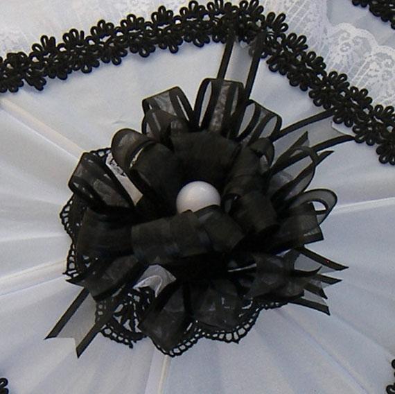 KC Dragonfly - Black and White Mae West wedding parasol v2.jpg - bow details