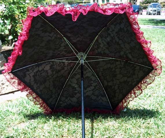 KC Dragonfly - Burgundy Boudier parasol - inside