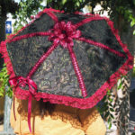 KC Dragonfly - Burgundy Boudier parasol - top - with bow tied on top