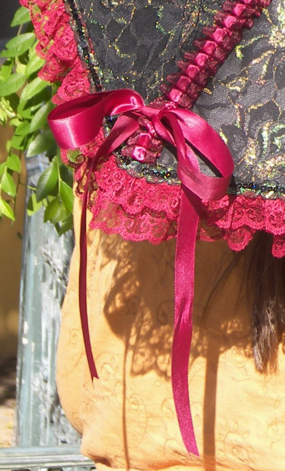 KC Dragonfly - Burgundy Boudier parasol - with bow tied detail