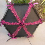 KC Dragonfly - Pink and Silver Stars parasol - open