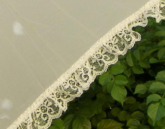 KC Dragonfly - Wedding Basic Off White parasol - top - detail - edge lace