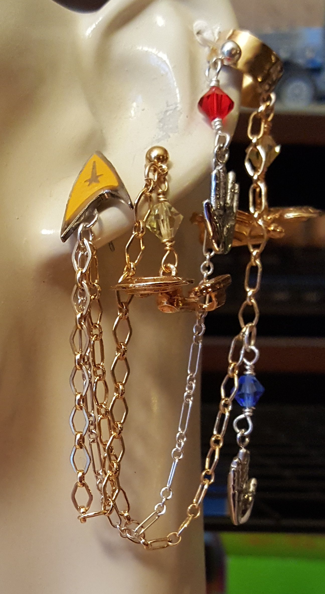 custom maxine star trek triple earcuff piercing by KC Dragonfly