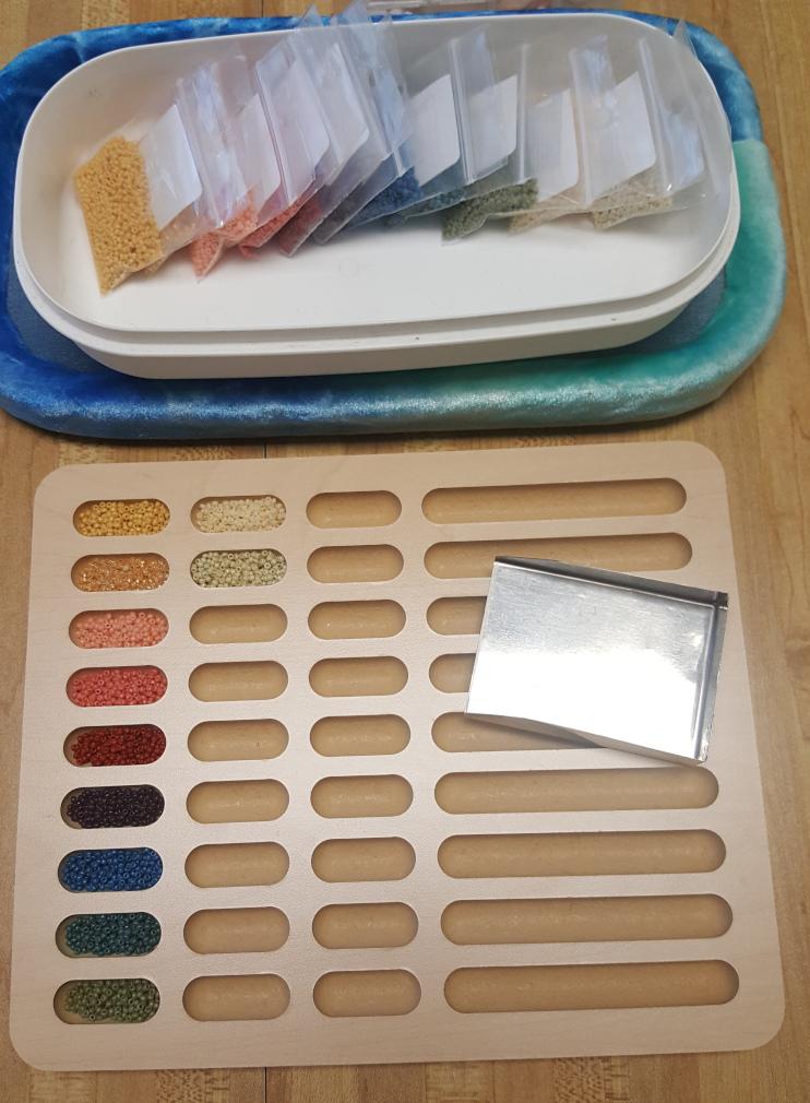 wooden bead sorting tray at KC Dragonfly