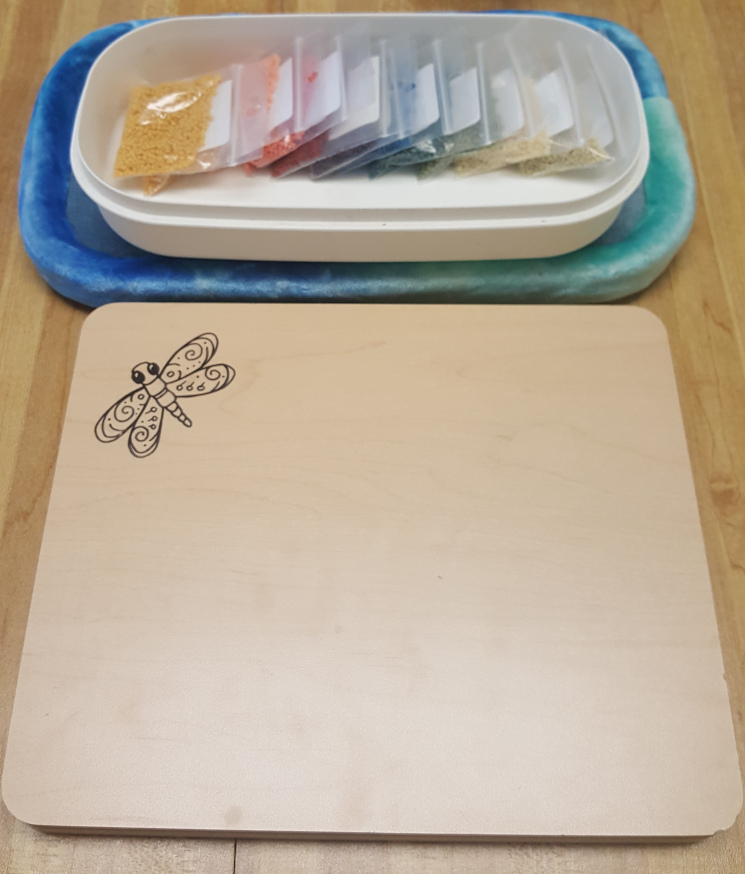 wooden bead sorting tray cover at KC Dragonfly