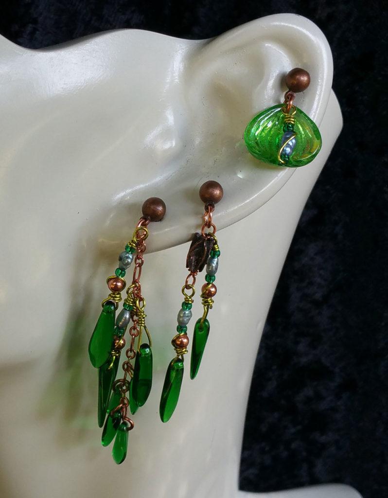 seaweed multi pierced earring set 1 by KC Dragonfly