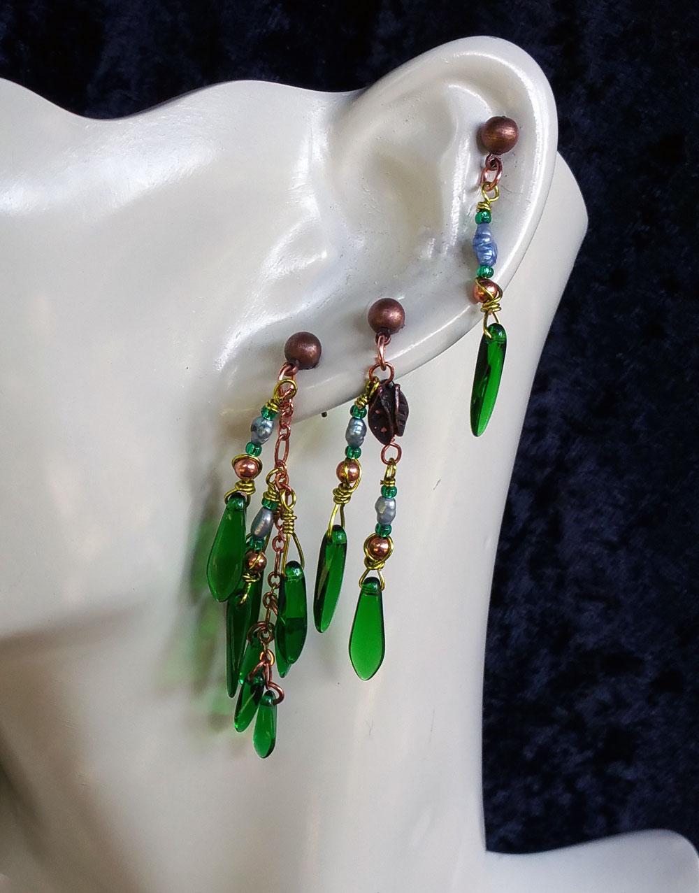 seaweed multi pierced earring set 2 by KC Dragonfly