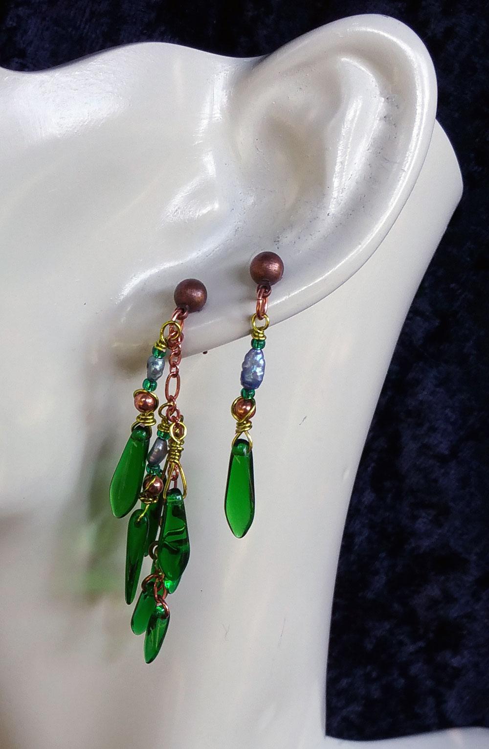 seaweed multi pierced earring set 3 by KC Dragonfly
