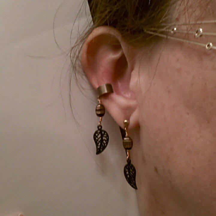 black leaf copper ear cuff and earring