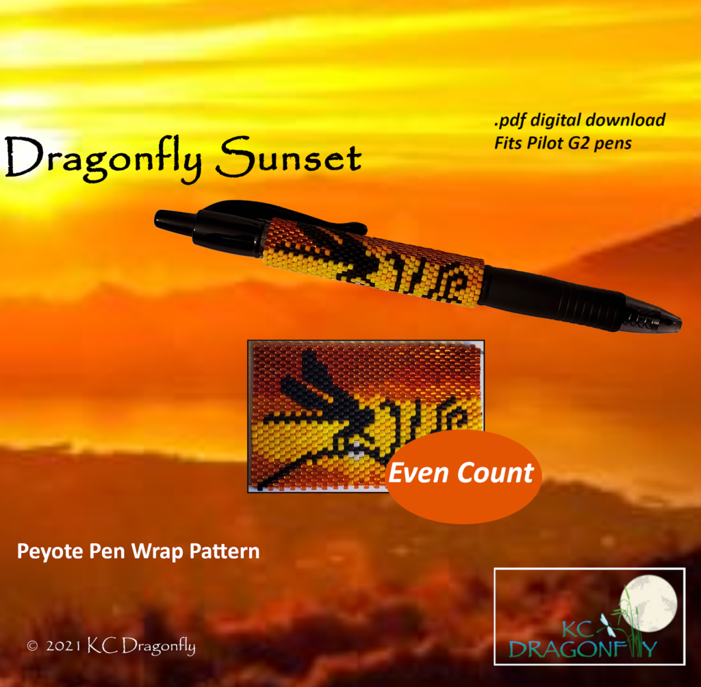 KC Dragonfly - Etsy Listing - Pen Wrap - Dragonfly Sunset